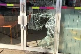 Broken shop front